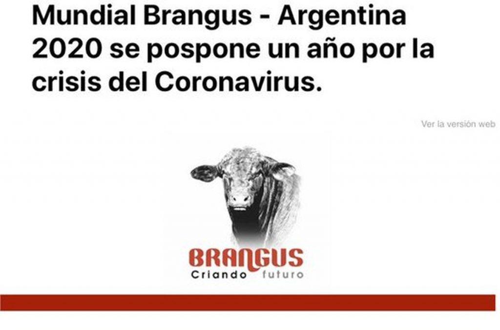 Posponen para 2021 el Congreso Mundial Brangus por crisis del coronavirus